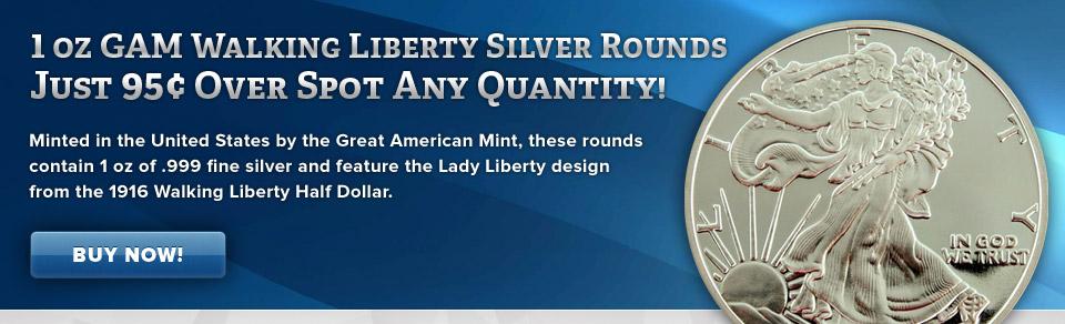 GAM Walking Liberty Silver Rounds