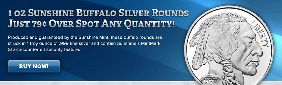 1 oz Sunshine Buffalo Silver Rounds Just 79¢ Over Spot!