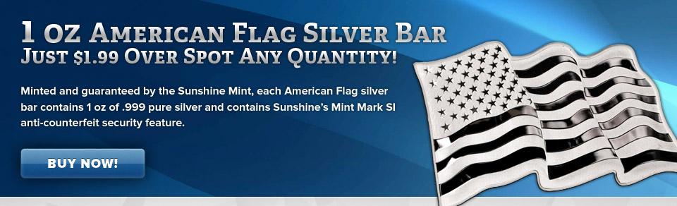 1 oz Sunshine American Flag Silver Bar