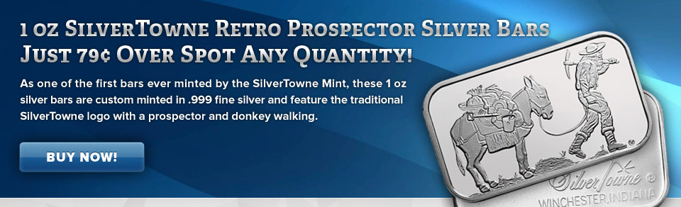 1 oz SilverTowne Retro Prospector Silver Bar Just 79¢ Over Spot