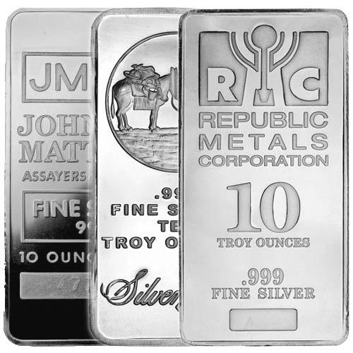 Buy 10 Oz Silver Bars Online Varied Mint Jm Bullion