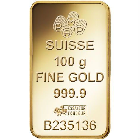 Buy 100 Gram Pamp Suisse 9999 Gold Bars Pressed L Jm
