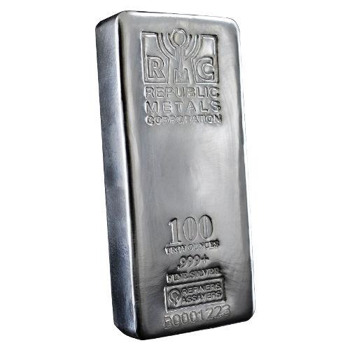 100 Oz Rmc Republic Metals Silver Bar Cast New