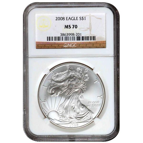 Buy 2008 American Silver Eagles Ngc Ms70 L Jm Bullion