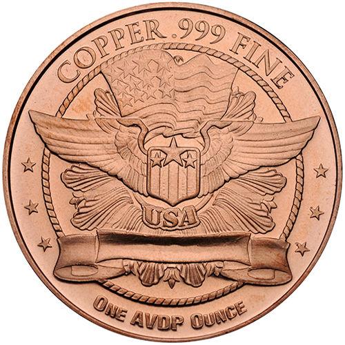 OUNCE COPPER HIGH RELIEF MEDALLION MORGAN DOLLAR 1 A.V.D.P
