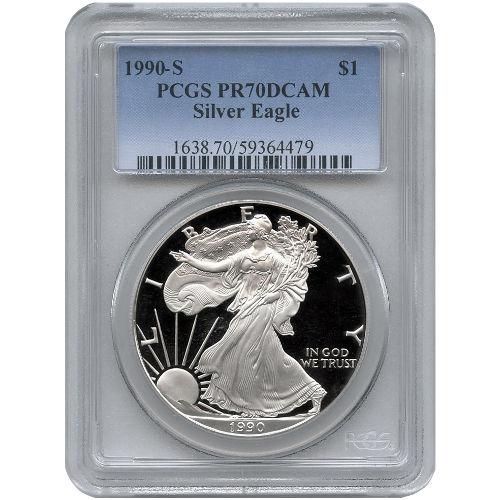 Buy 1990 American Silver Eagles Pcgs Pr70 L Jm Bullion
