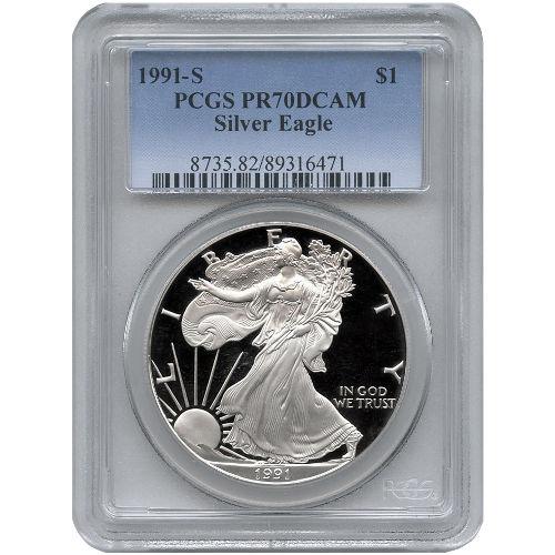 Buy 1991 American Silver Eagles Pcgs Pr70 L Jm Bullion