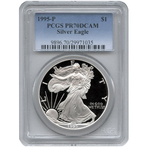 Buy 1995 P American Silver Eagles Pcgs Pr70 L Jm Bullion