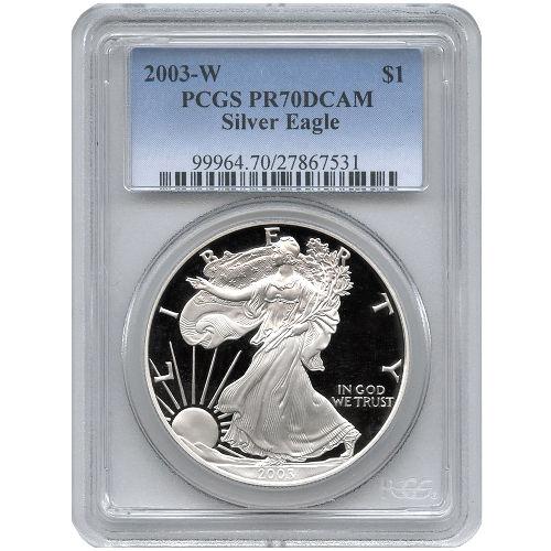 2003 W American Silver Eagles Pcgs Pr70 L Jm Bullion