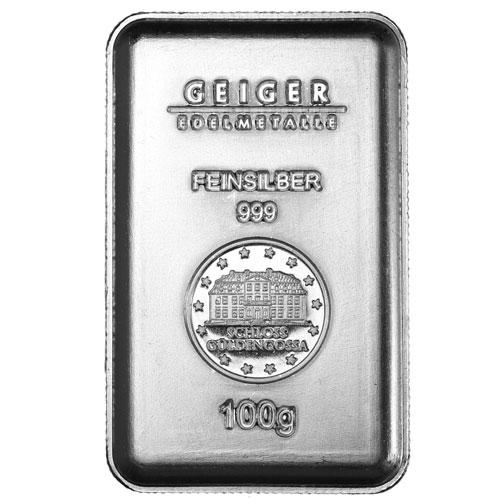 Buy 100 Gram Geiger Silver Bars Online New L Jm Bullion