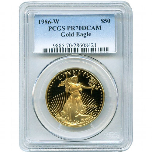 Buy 1986 W 1 Oz American Gold Eagles Pcgs Pr70 Jm Bullion