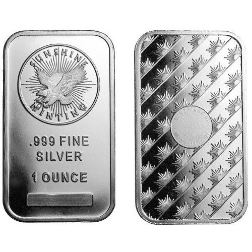 1 Oz Sunshine Silver Bars Just 99 Over Spot Any Quantity
