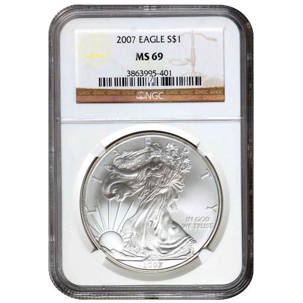 2007 1oz Silver Eagle PCGS MS69 Flag Frame