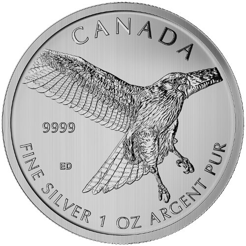 Lot of 10-2015 Canadian 1oz Silver Red-Tailed Hawk $5 Coin .9999 Fine BU