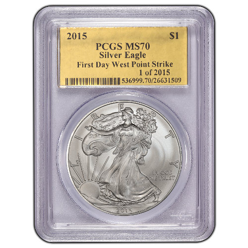 Buy 2015 American Silver Eagles Pcgs Ms70 Gold Foil Jm