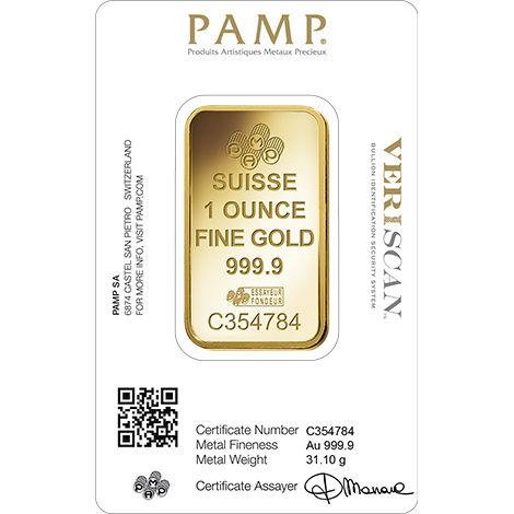 Buy 1 Oz Pamp Suisse Veriscan 9999 Gold Bars Online New