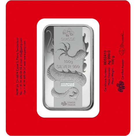 Buy 100 Gram Pamp Suisse Dragon Silver Bars Brand New L