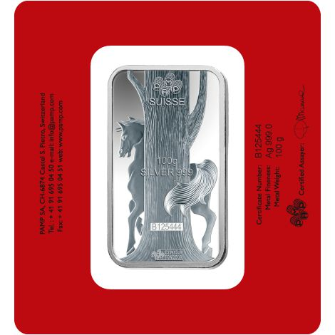 Buy 100 Gram Pamp Suisse Horse Silver Bars Brand New L