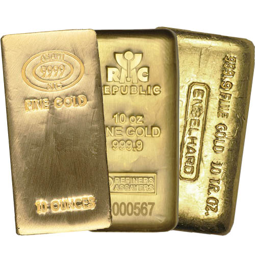 10 Oz Gold Bar Varied Condition Mint