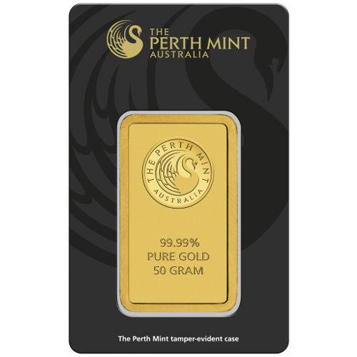 50 Gram Perth Mint Gold Bar New W Ay