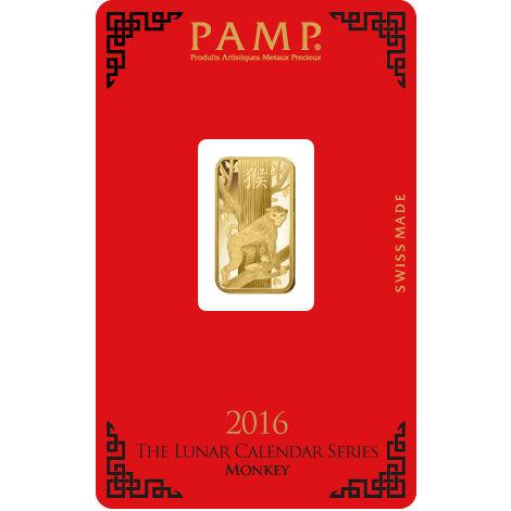 Buy 5 Gram Pamp Suisse Lunar Monkey Gold Bars New L Jm