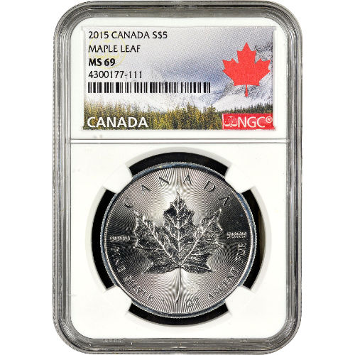 2015 1 Oz Canadian Silver Maple Leaf Ngc Ms69 Jm Bullion