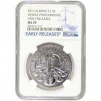 2016 Austrian Silver Philharmonic Coin NGC MS70 ER