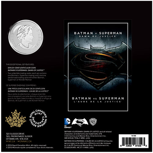 2016 Canada BATMAN v SUPERMAN Dawn of Justice™ 25-cents Lenticular Coin+2 Cards