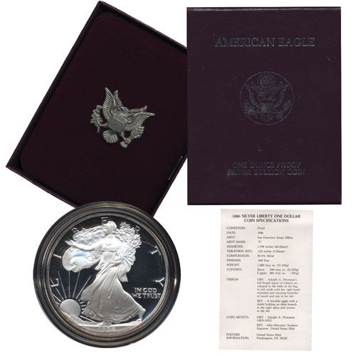 1997 P Proof American Eagle Silver Dollar with Original Packaging and COA $1 PR DCAM US Mint