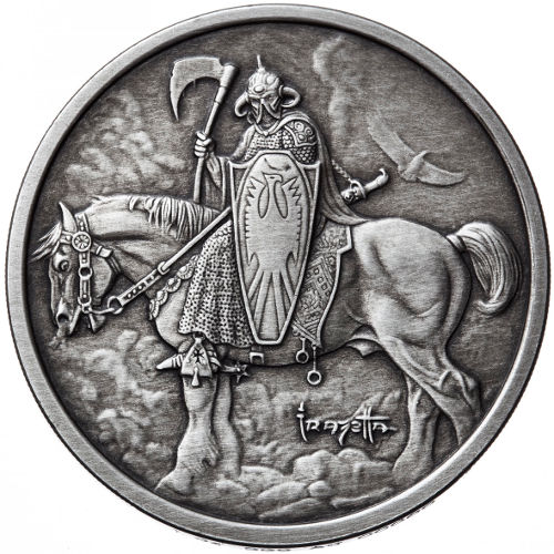 1 Oz Antique Frank Frazetta Death Dealer Silver Round 166 Jm
