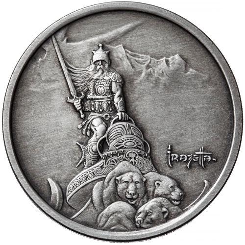 1 Oz Antique Frank Frazetta Silver Warrior Silver Round