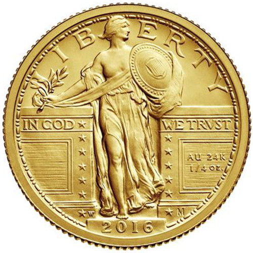 2016 1 4 Oz American Gold Standing Liberty Quarter Coin
