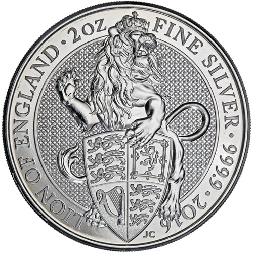 2016 Queen/'s Beasts Lion 2 oz Silver Coin