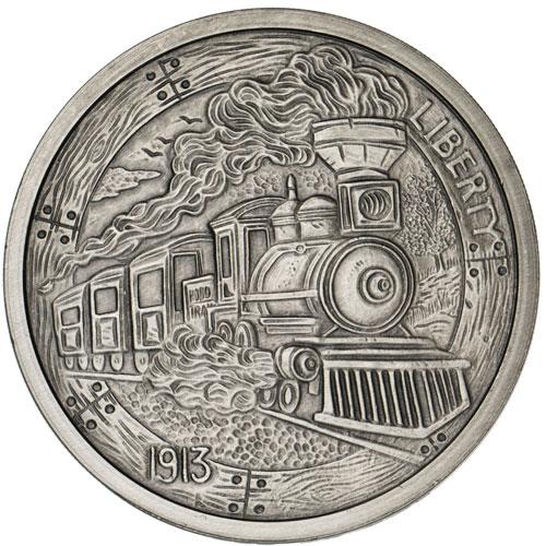 5 oz Antique Train Silver Round (Hobo Nickel Series #2, New w/ CoA)