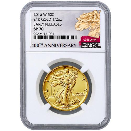 2016 1 2 Oz American Gold Walking Liberty Coin Ngc Sp70 Er