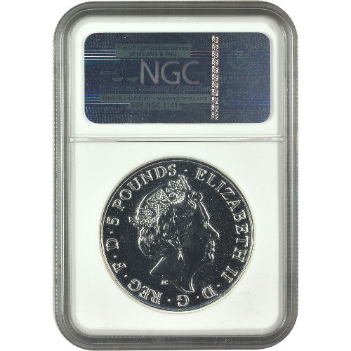 £5 Silver Queen/'s Beasts The Lion of England 2oz NGC MS69 2016 U.K