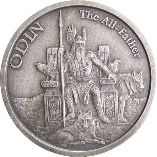 Buy 5 Oz Antique Norse God Series Odin Silver Rounds L Jm