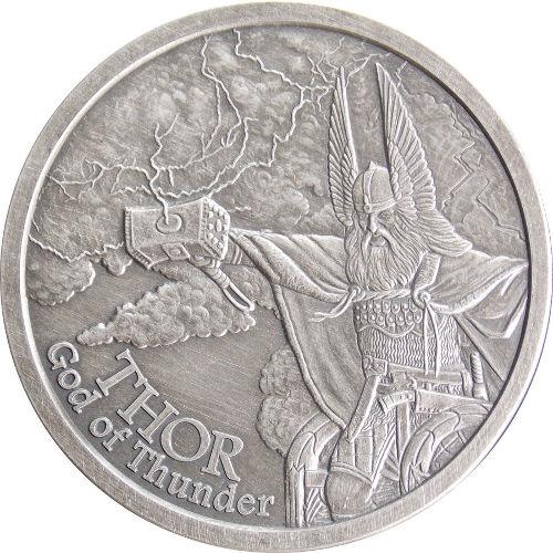 Buy 1 Oz Antique Norse God Series Thor Silver Rounds L Jm