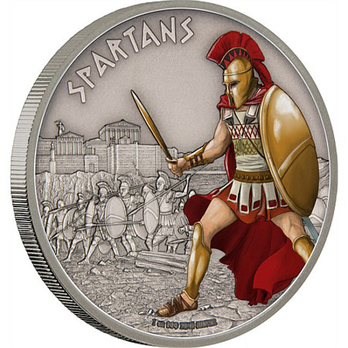 2016 1 Oz Niue Silver Warriors Of History Spartan Coins L
