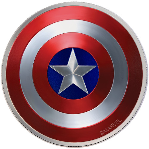 2016 2 Oz Fiji 75th Anniversary Captain America Silver