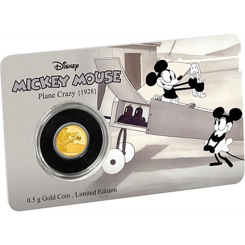 2016 1 2 Gram Niue Mickey Mouse Plane Crazy Gold Coins L