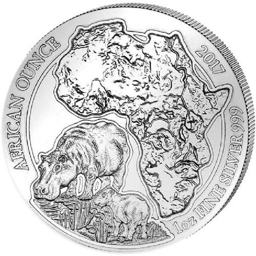 2017 1 Oz Proof Rwandan Hippo Silver Coin Capsule CoA