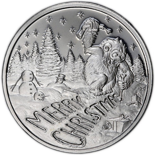 2016 Elemetal Abominable Snowman Christmas Silver Rounds