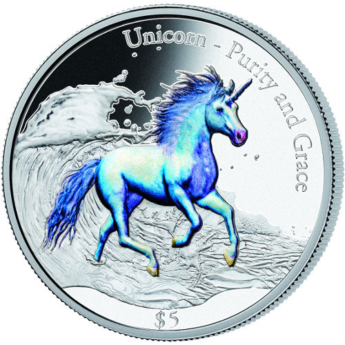 2016 3 Oz Colorized Fiji Unicorn Purity And Grace Coins L