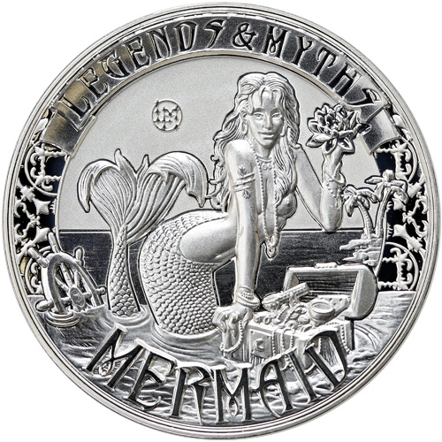 2 oz Reverse Proof Solomon Islands Silver Mermaid Coins l