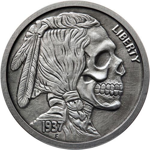 Buy 5 Oz Antique Indian Skull Silver Rounds 166 Jm Bullion