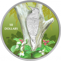 2017 1-2 oz Proof Canadian Silver Birds Among Nature's Colours Northern Flicker Coin - Front