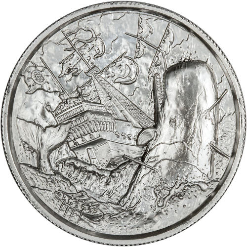 Privateer series. 2 onzas de plata high relief 2-oz-elemetal-white-whale-ultra-high-relief-silver-round-obv