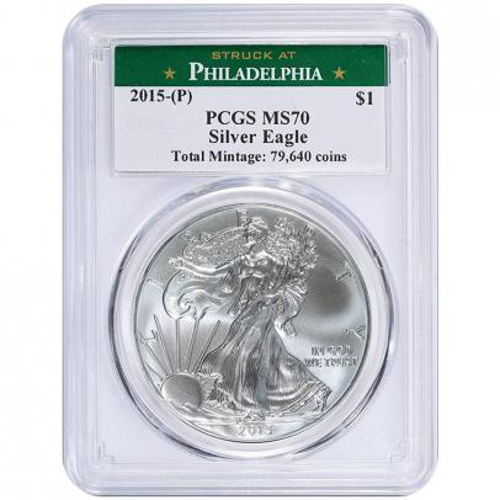 Buy 2015 P 1 Oz American Silver Eagles Pcgs Ms70 L Jm
