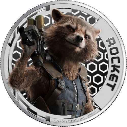 1 2 Oz Guardians Of The Galaxy Galaxy Rocket Silver Coin L